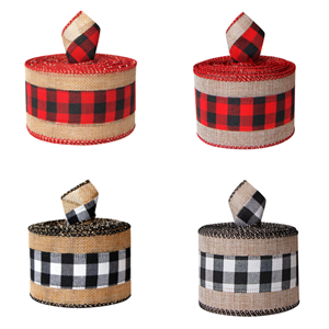Christmas gingham wired edge ribbons plaid burlap wrapping ribbon