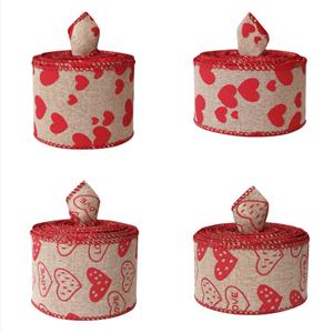 Valentine lint rood lint bedraad jute lint voor cadeaupapier decrotions