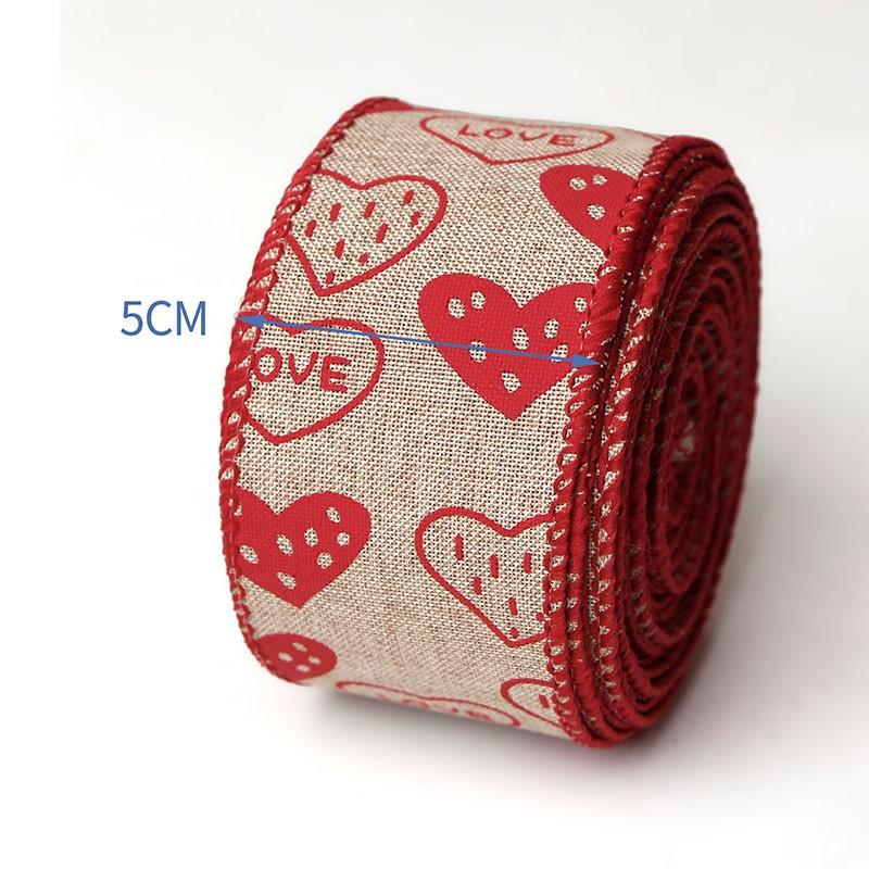 Cintas con estampado de corazón, cinta de arpillera con cable,