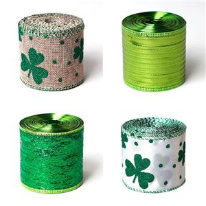 Burlap Ribbon Irish Ribbon Green Leaves Plaid Check Wired Edge Ribbon