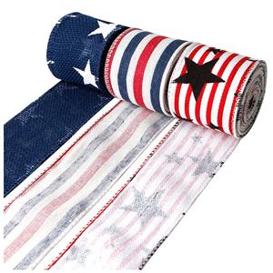 Star and stripe burlap ribbon wired edge burlap ribbon for Independence day