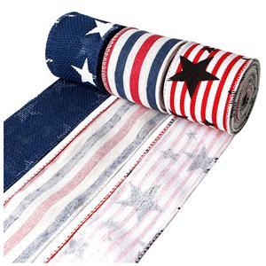 Jute lint met ster en streep bedraad jutelint met rand voor onafhankelijkheidsdag