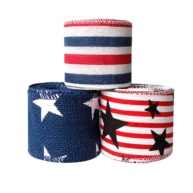 stripe burlap ribbon,ribbon wired edge,wired edge burlap ribbon