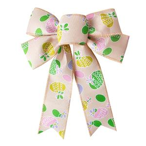 Large decorative ribbon bow burlap ribbon bow for Easter day