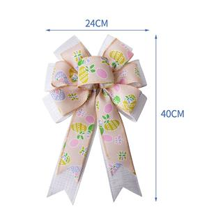 Easter day burlap ribbon bow Spring Easter decorative ribbon bows