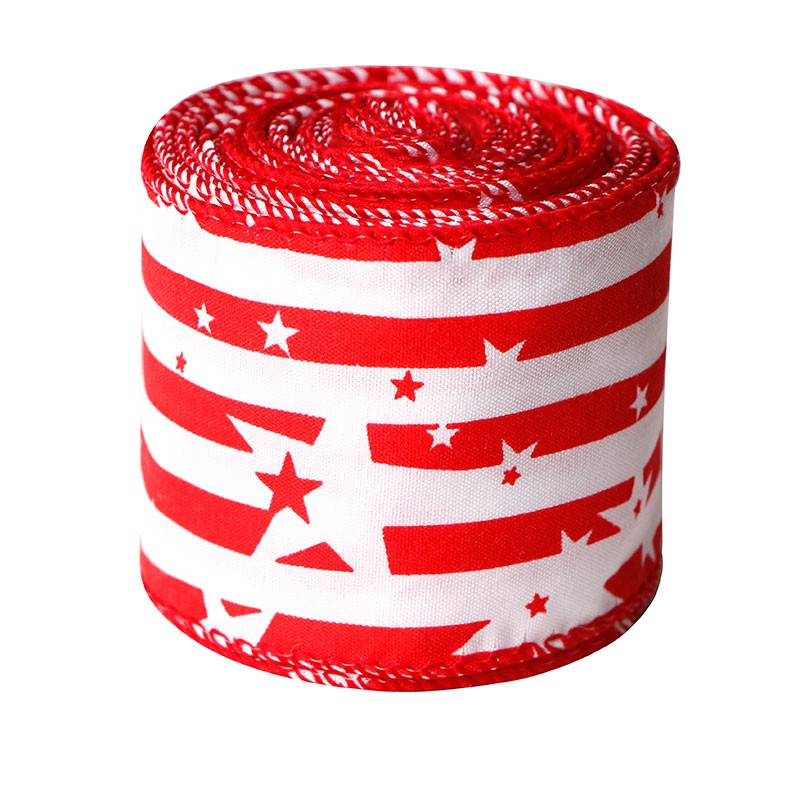 カントリースタイルのアメリカ国旗の愛国的なリボン-21/2インチのワイヤード黄麻布リボン