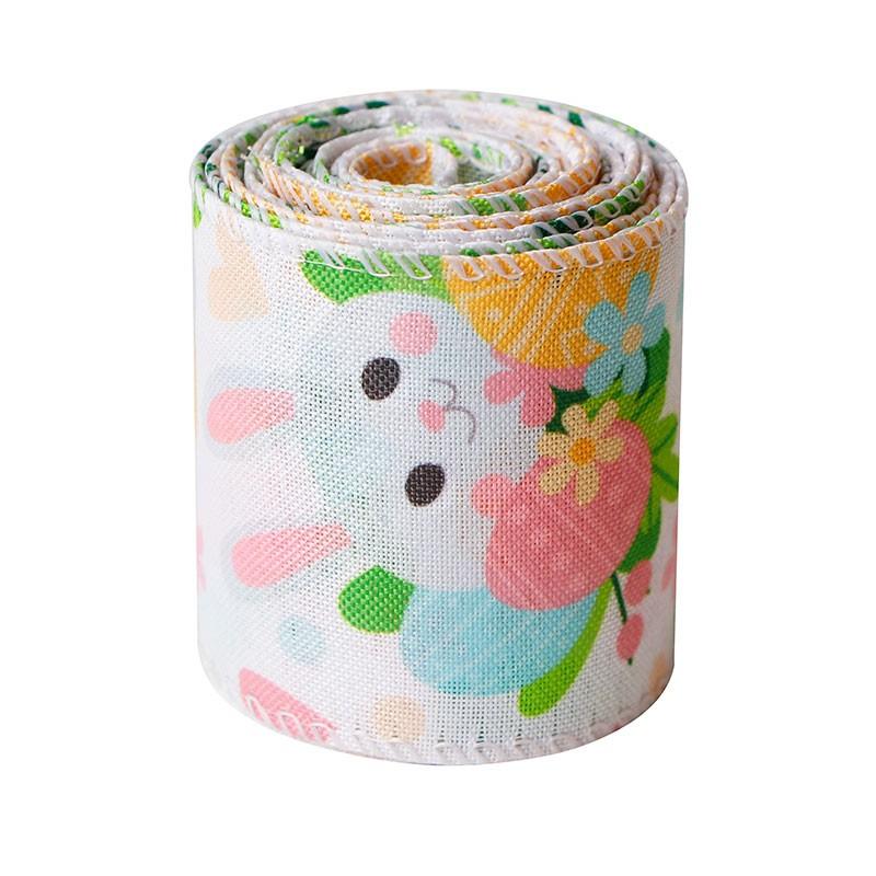 Easter burlap ribbon,line edge burlap ribbon,spring ribbon,burlap ribbon roll