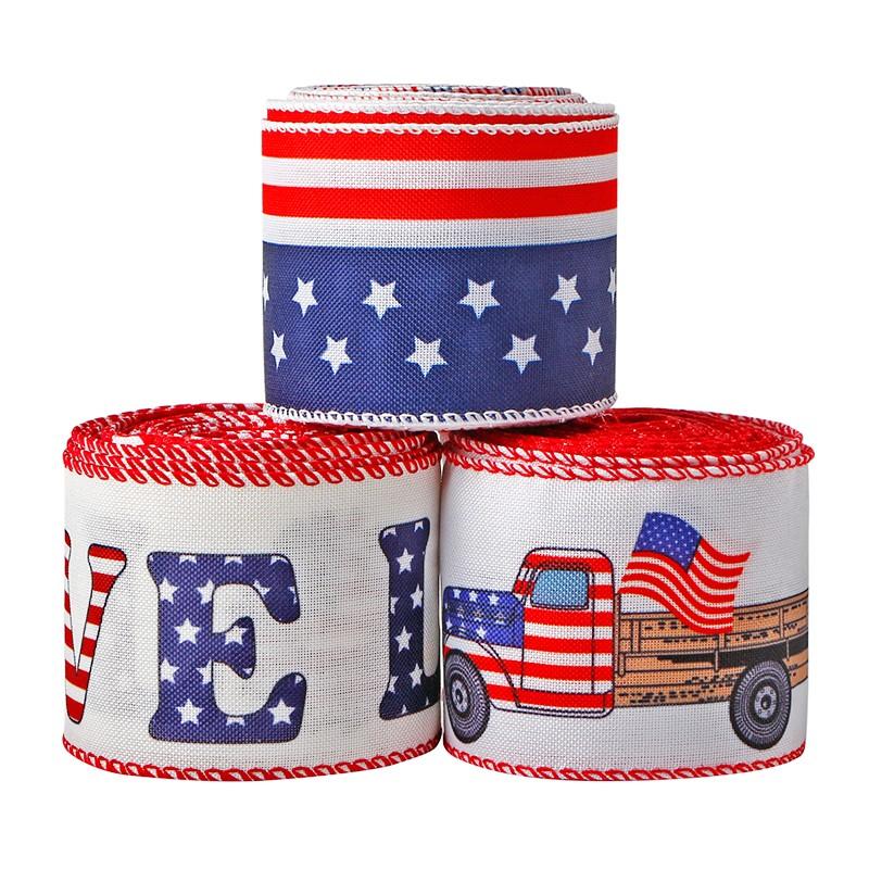 애국적인 삼베 리본 스타 & 스트라이프 유선 엣지 리본 레드 트럭 리본 미국 국기 테마 리본