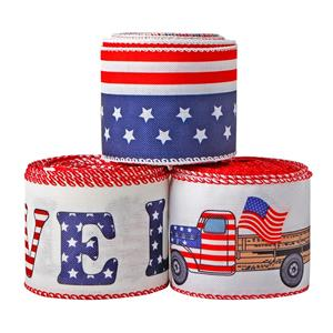 Patriotic Burlap Ribbon Star & Stripe Wired Edge Ribbon Red Truck Ribbon America Flag Themed Ribbon