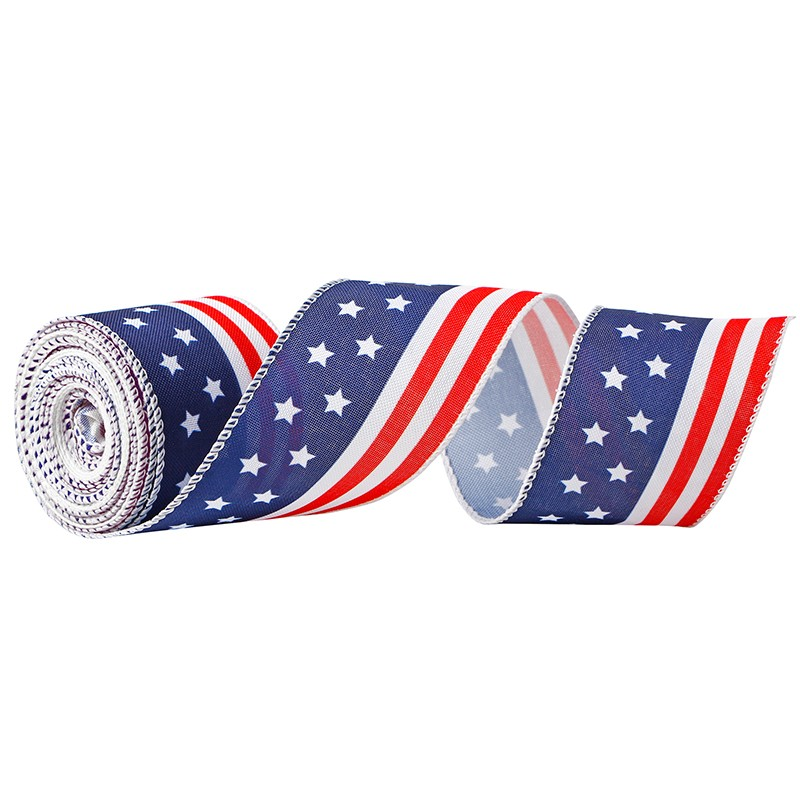 Patriotic Burlap Ribbon,Wired Edge Ribbon,Red Truck Ribbon