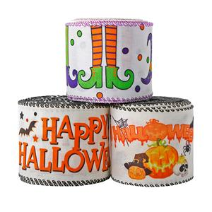 Halloween wired edge ribbon burlap ribbon lined edge for holiday decoration