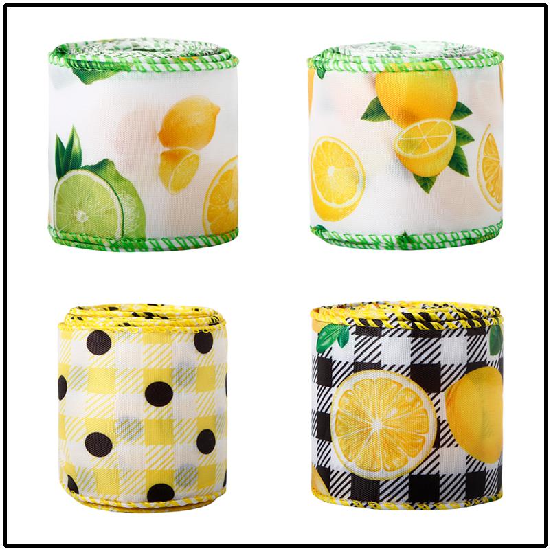 Citroen bedrade rand lint 2,5 inch zomer lente jute lint citroen pastel gecontroleerd lint