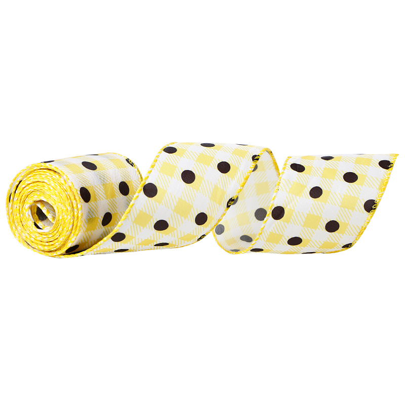 wired edge ribbon,spring burlap ribbon,summer burlap ribbon,Lemon burlap ribbon