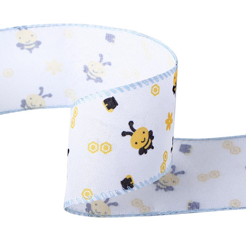 Bumble Bee Wired Edge Ribbon,Sprint burlap ribbon,Honeybee print ribbon