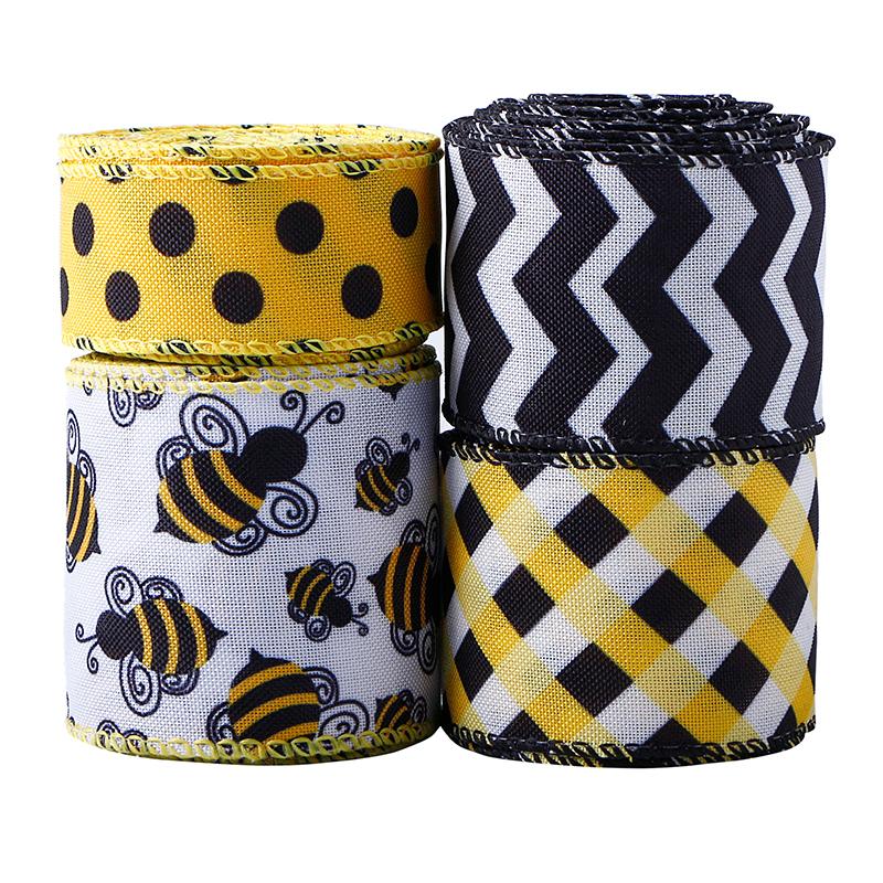 Bee Ribbon Wired Polka Dot Edge Ribbon Bee Vertical Stripe Craft Ribbon Nastro decorativo