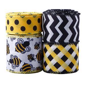 Fita de abelha com fio de bolinhas com borda de fita Fita decorativa de abelha com listras verticais para artesanato