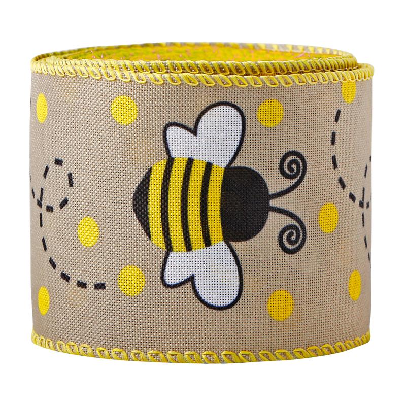 Nastri con bordo cablato ape Nastri con bordo cablato in tela ape nera Nastro con bordo cablato giallo nero per avvolgimento artigianale fai-da-te
