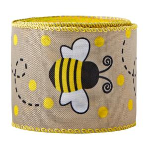 Bee Wired Edge Ribbons Honeybee Canvas Wired Edge Ribbons Black Yellow Wired Edge Ribbon for DIY Craft Wrapping