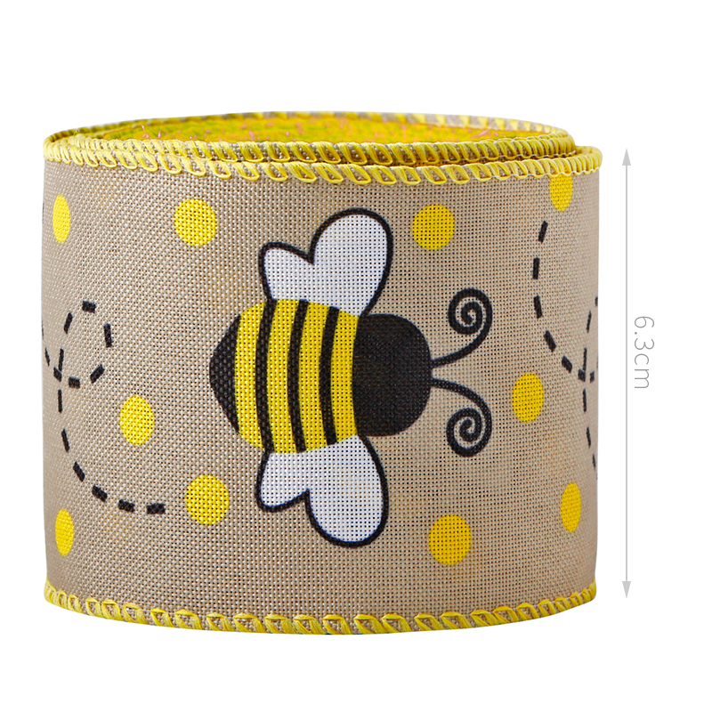 Nastro ape Nastro con bordo a pois con filo Nastro a strisce verticali a forma di ape Nastro decorativo per avvolgere, decorazioni per feste pasquali, fiocchi per capelli, artigianato e cucito
