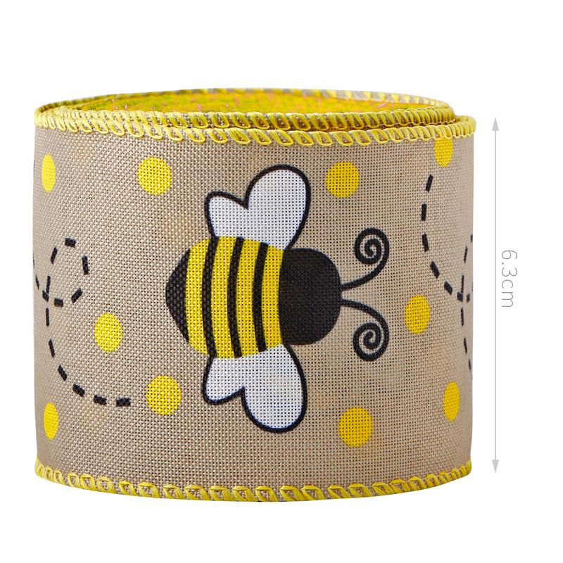 Bee Ribbon Wired Polka Dot Edge Ribbon Bee Vertical Stripe Craft Ribbon Decorative Ribbon for Wrapping