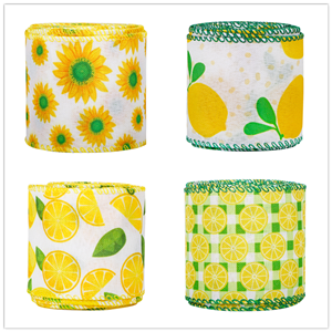 Lemon Theme Wired Edge Ribbons 2.5 Inch Lemon Plaid Craft Ribbon Spring Summer Wrapping Ribbons for Wreaths