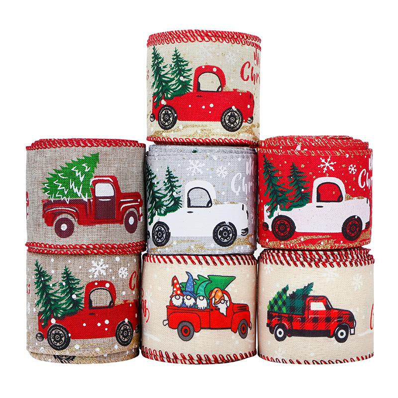 Nastro natalizio Nastri natalizi con bordo metallico Buon albero di Natale e nastro metallico per camion Nastro avvolgente