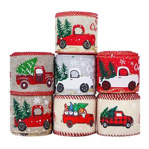 Christmas Ribbon Christmas Wired Edge Ribbons Merry Christmas Tree and Truck Wired Ribbon Wrapping Ribbon
