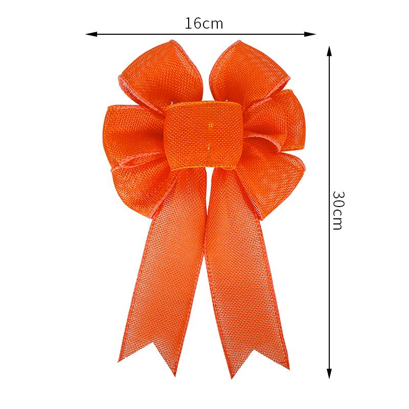 Orange burlap bow