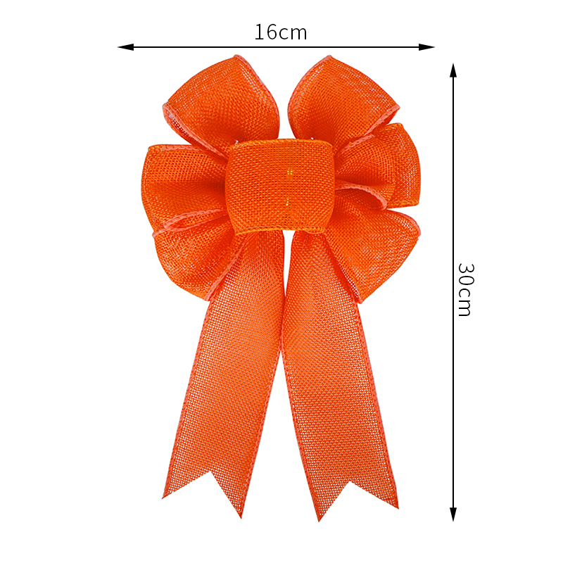 Orange burlap bow,large holiday bow,holiday burlap bow,Thanksgiving ribbon bow