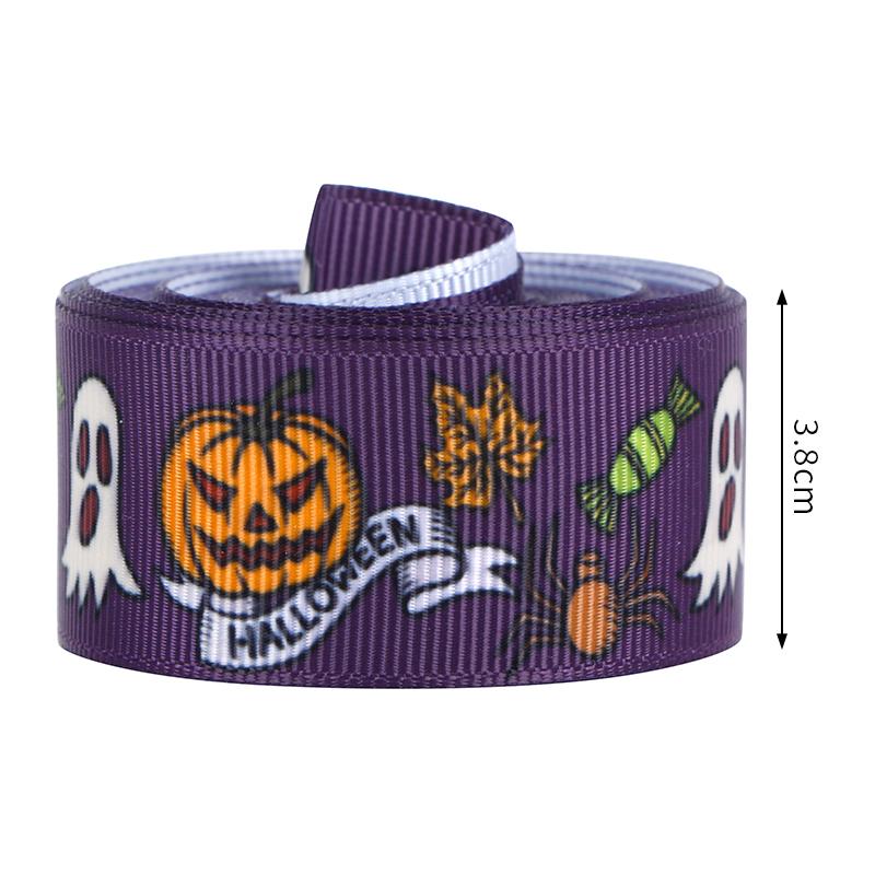 Ruban Halloween 38mm, ruban gros-grain Halloween, ruban filaire Halloween