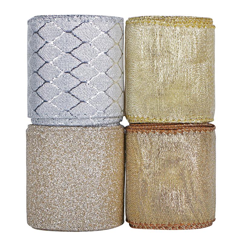 Rubans de Noël rubans de festival de vacances en tissu à paillettes métalliques 63mm de large pour la décoration d'emballage cadeau