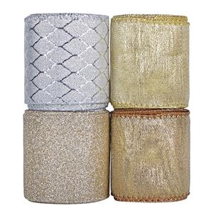 Nastri natalizi in tessuto glitterato metallico festivo natalizio nastri larghi 63 mm per la decorazione di confezioni regalo