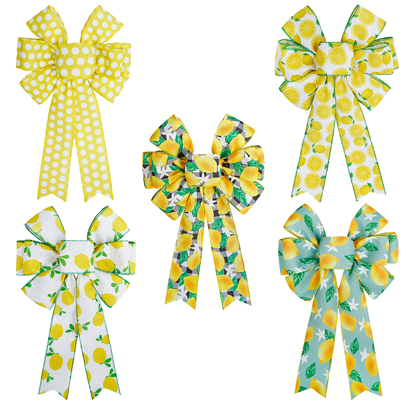 Grand nœud de couronne d'été à pois jaunes, nœud à carreaux noir et blanc, nœud décoratif à bord filaire