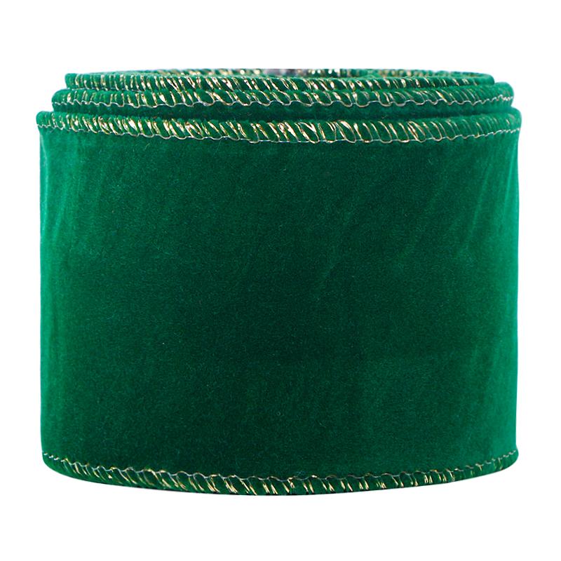 Ruban de velours de Noël Ruban de bord câblé en velours Ruban d'emballage de garniture dorée de 2,5 pouces Ruban de tissu artisanal vert