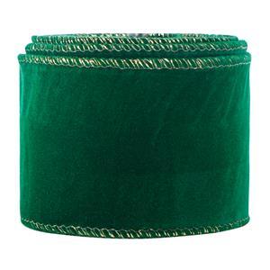 Nastro in velluto natalizio Nastro in velluto con bordo metallico Nastro da imballaggio in oro da 2,5 pollici Nastro in tessuto artigianale verde