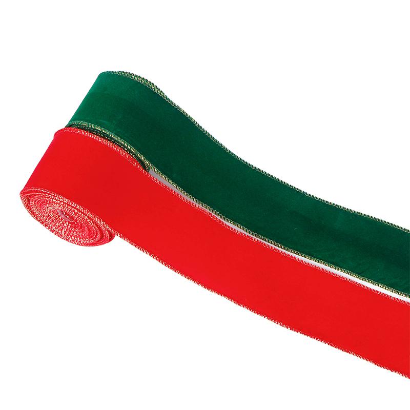 ruban de bord câblé en velours, ruban de velours de 2,5 pouces, ruban de velours de Noël