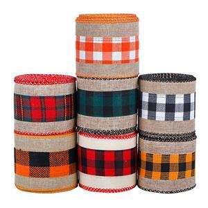 Ruban d'artisanat en tissu de jute de Noël Rubans à carreaux câblés de Noël Ruban à carreaux Buffalo