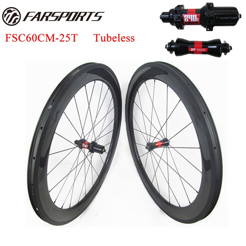 60mm X 25mm Tubeless Carbon Bike Wheels With DT 240S Hub