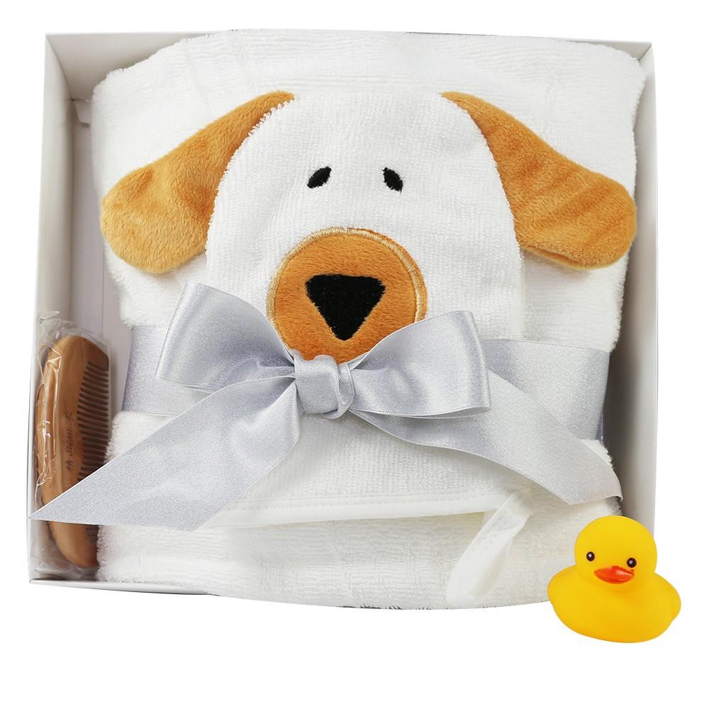 animal design baby organic bamboo hooded bath towel washcloth set