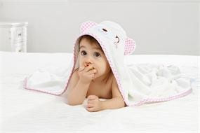 Smile Pink Bear Bamboo Baby Hooded Towel
