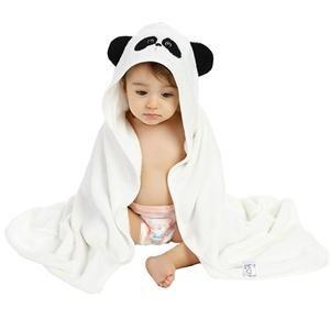 Cute Panda Embroidery Bamboo Hooded Towel For Baby Toddler
