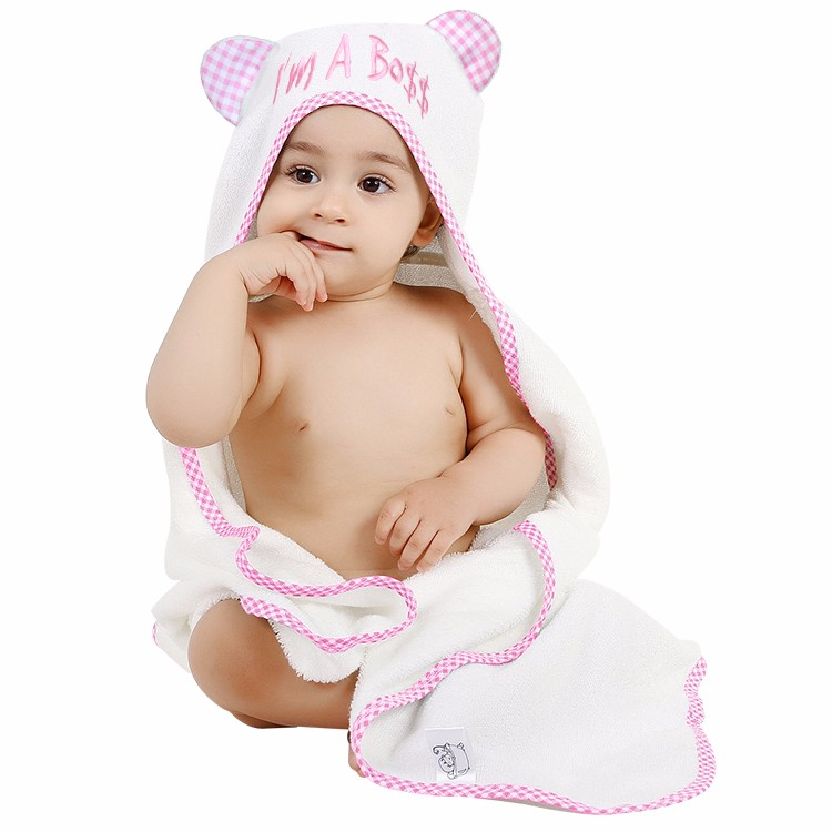 Bamboo baby hooded wrapping towel