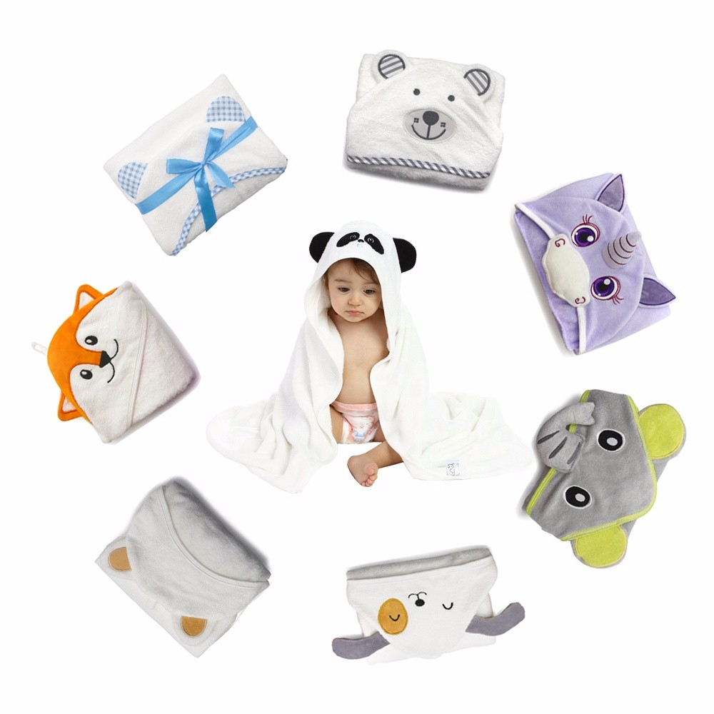 2020 factory low price direct bamboo hooded baby bath towel with animal pattern