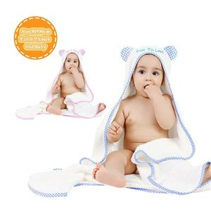 Stock clearance bamboo hooded baby blanket animal hooded towel washcloth set