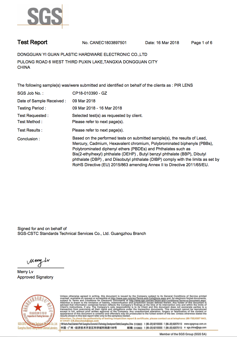 RoHS Test Report (Y2018)
