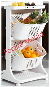 Plastic kitchen vegetable and fruit storage trolley mould