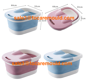 Two-color collapsible foot bath bucket plastic injection mold