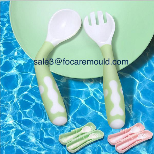 Two-color toddler training spoon plastic injection mold