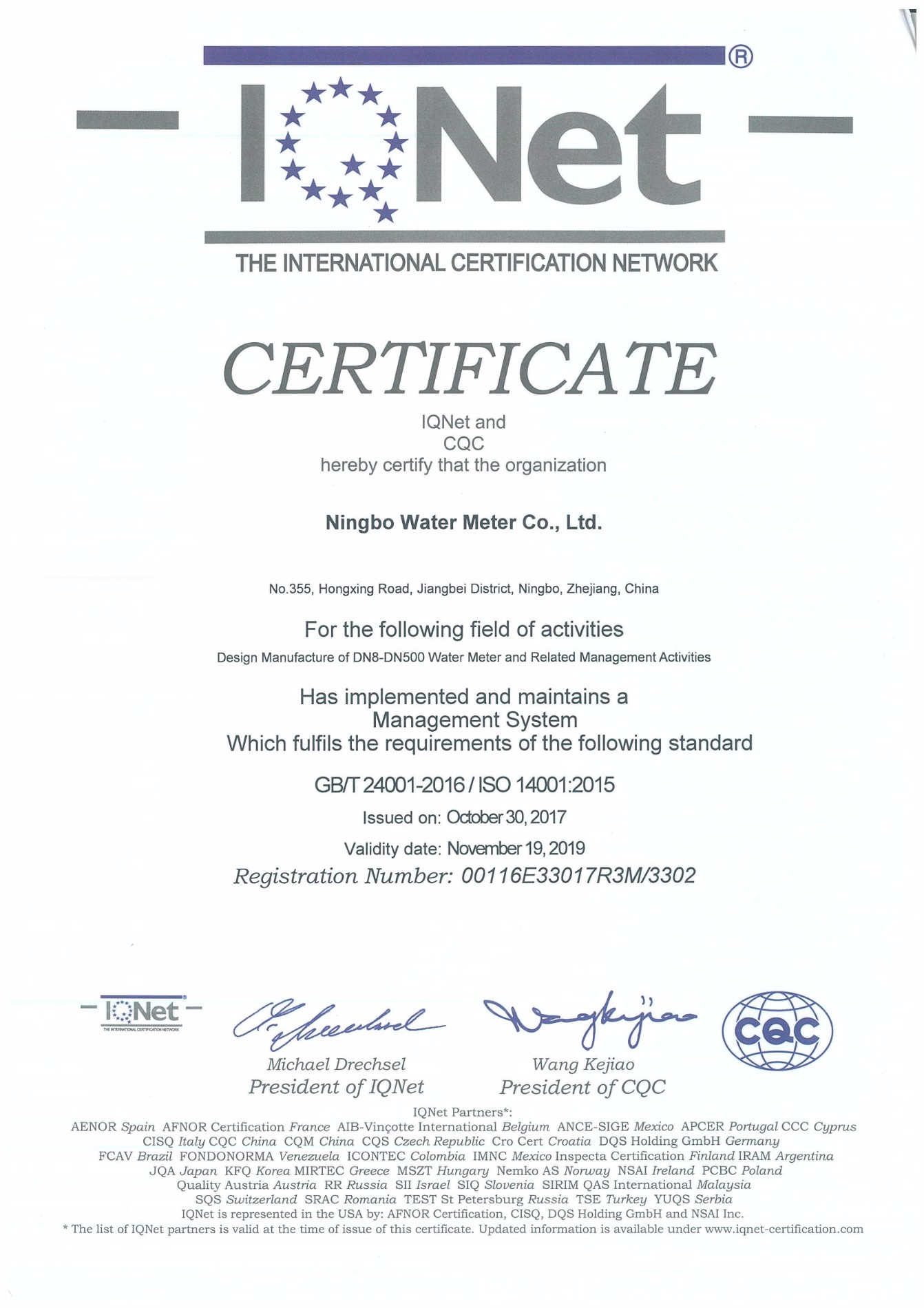 ISO 9001-2015 EN; ISO 14001-2015 EN; ISO 18001-2015;