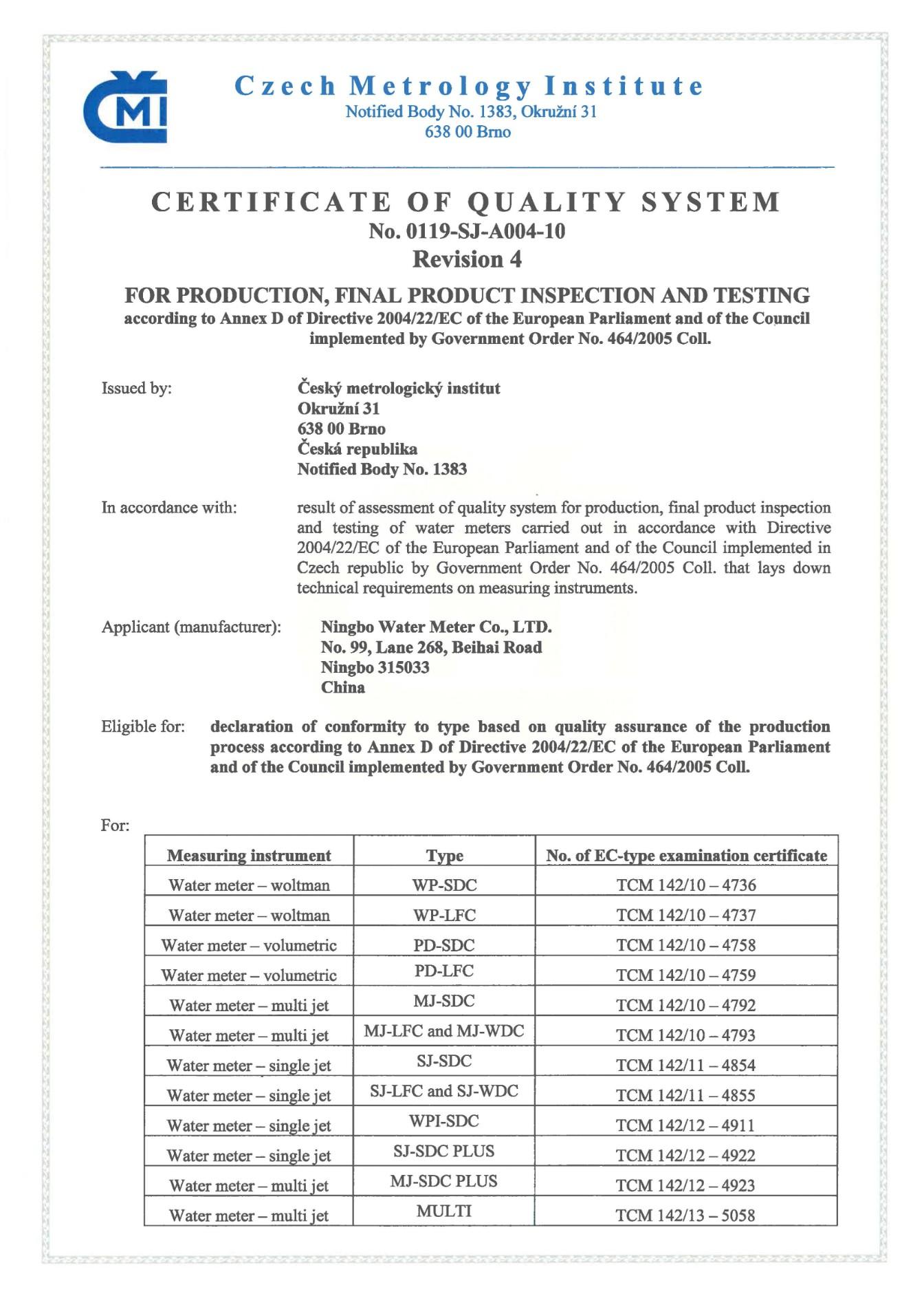 CE (MID) Module D Certificate